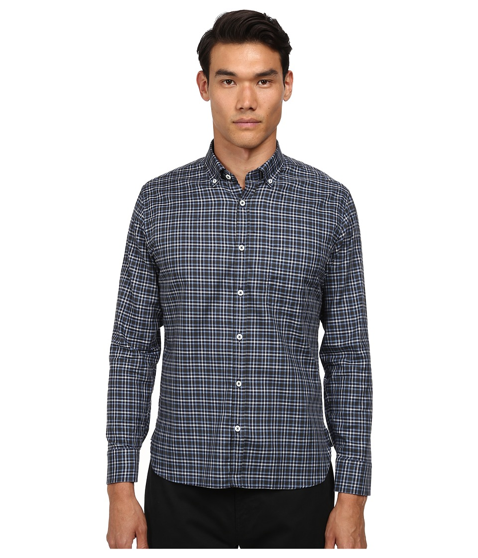 Billy Reid - Rosedale Top (Grey/Blue) Men's Short Sleeve Button Up