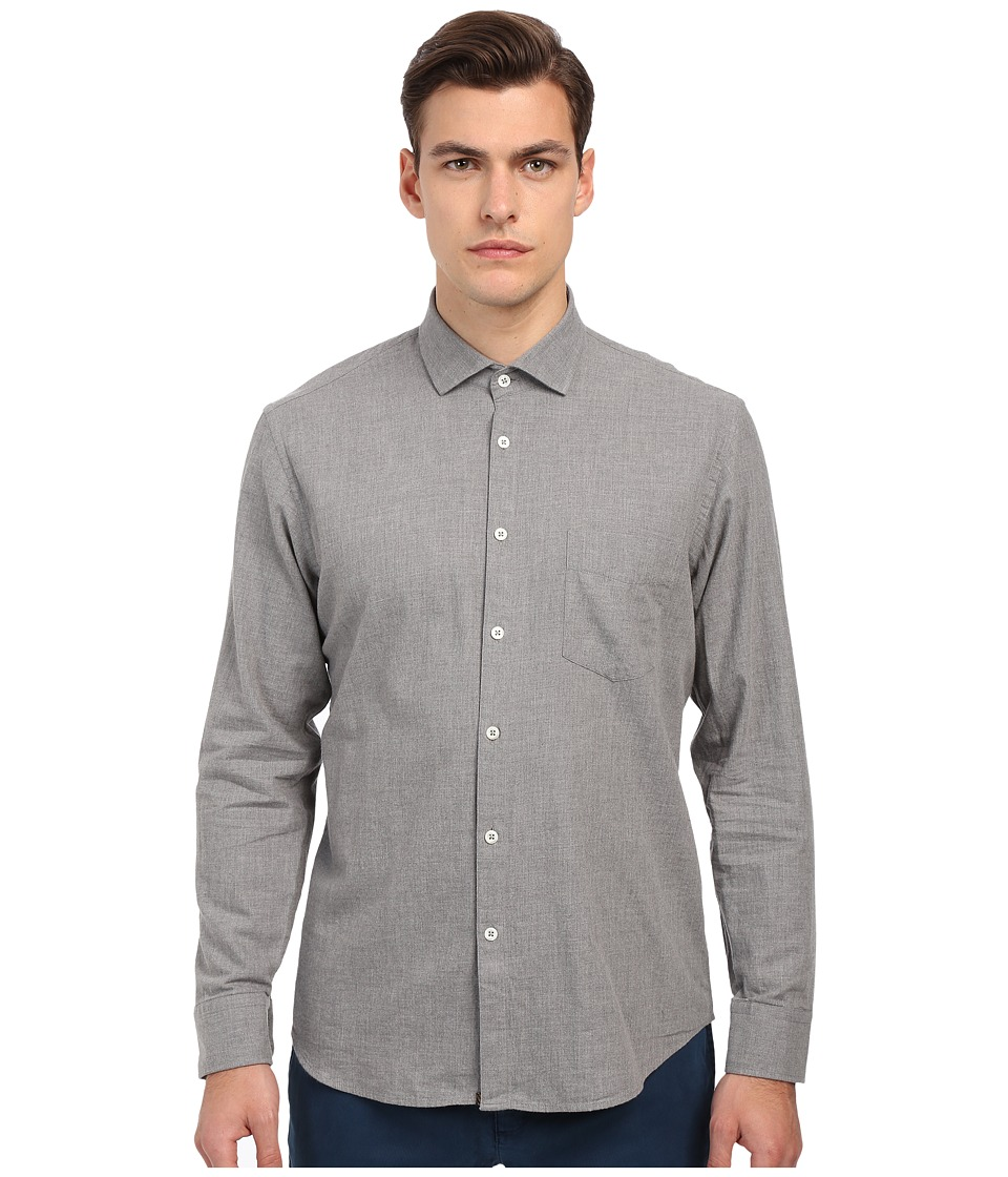 Billy Reid - John T-Shirt Button Up (Solid Grey) Men's Long Sleeve Button Up