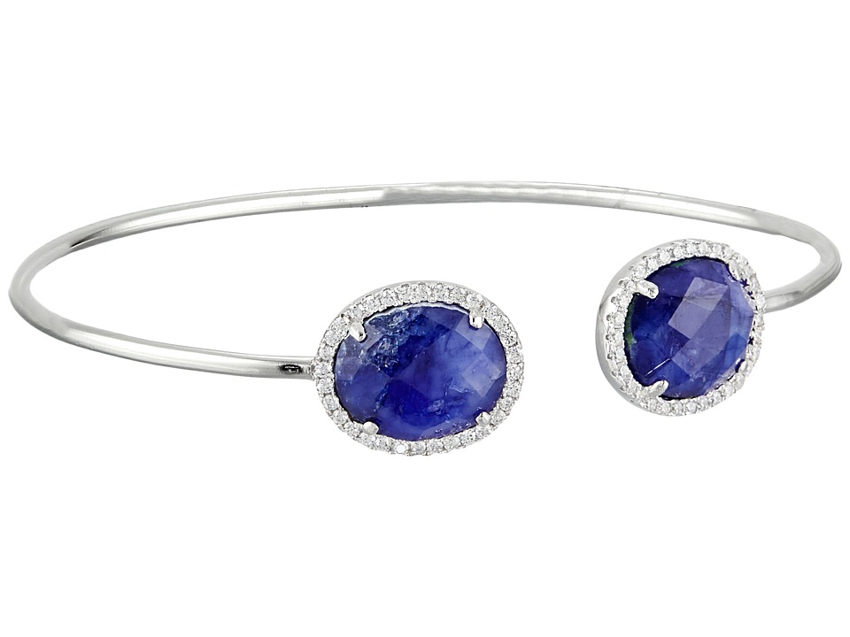 Dee Berkley - Sterling Silver and CZ Bangle (Blue 2) Bracelet