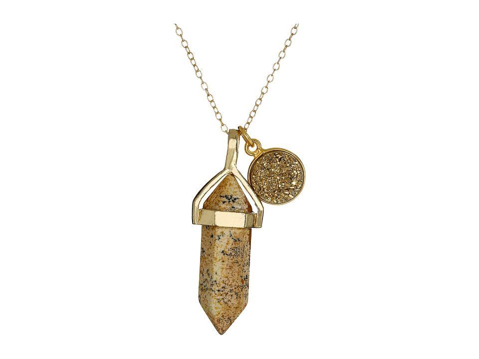 Dee Berkley - Jasper and Drusy Crystal Necklace (Brown) Necklace