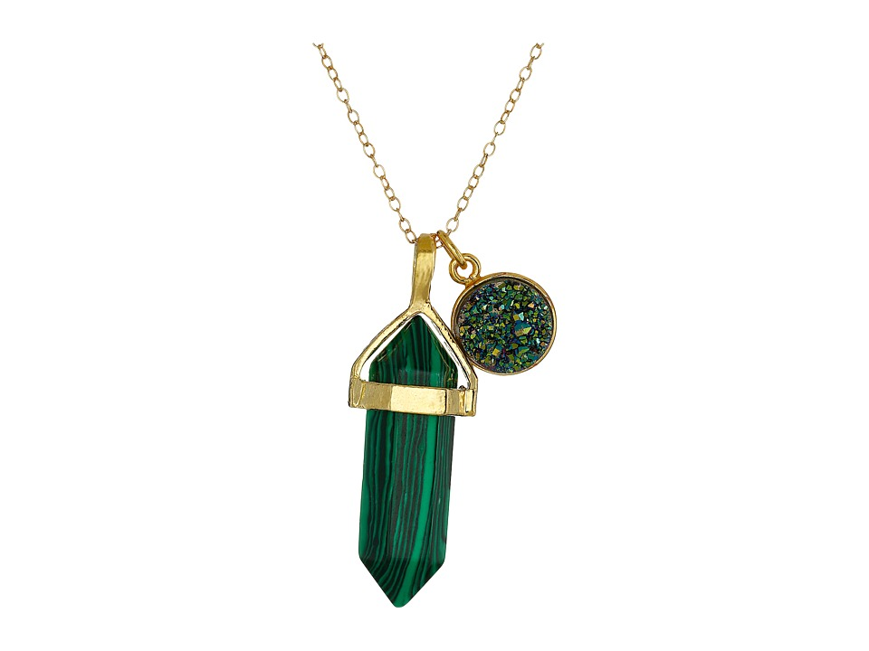 Dee Berkley - Simulated Malachite and Drusy Crystal Necklace (Green) Necklace