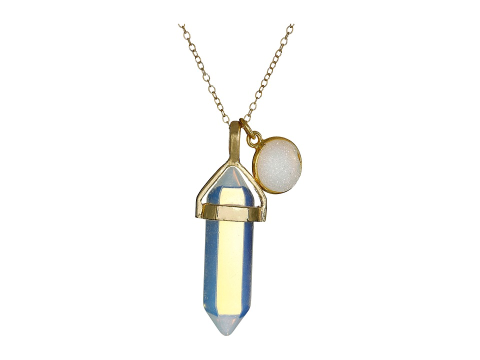 Dee Berkley - Moonstone and Drusy Crystal Necklace (White) Necklace
