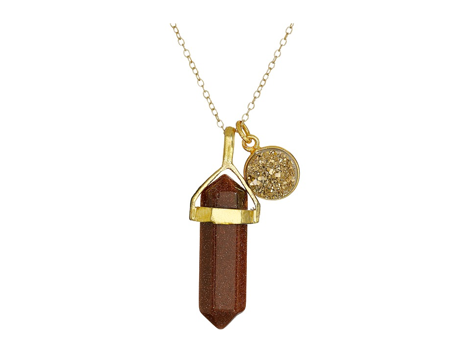 Dee Berkley - Goldstone and Drusy Crystal Necklace (Brown) Necklace
