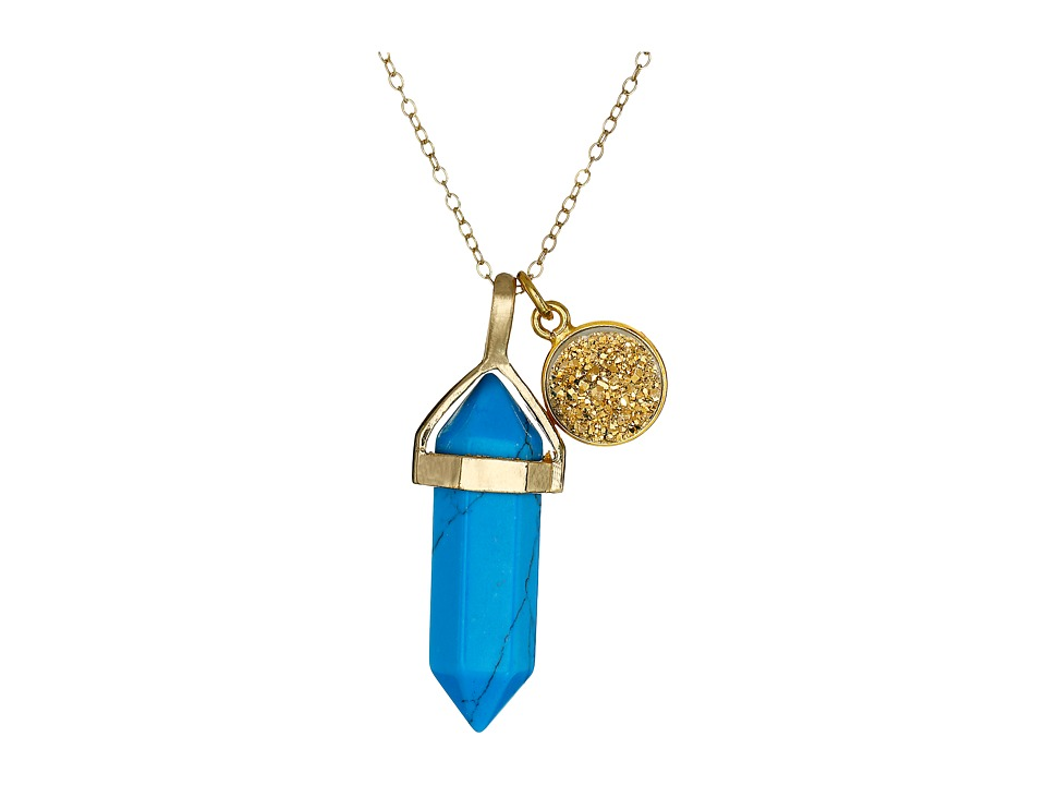 Dee Berkley - Stabilized Turquoise and Drusy Crystal Necklace (Turquoise) Necklace