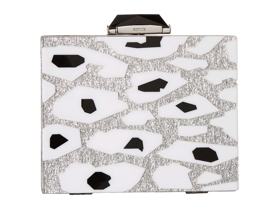 KOTUR - Taylor Leopard (Silver) Clutch Handbags