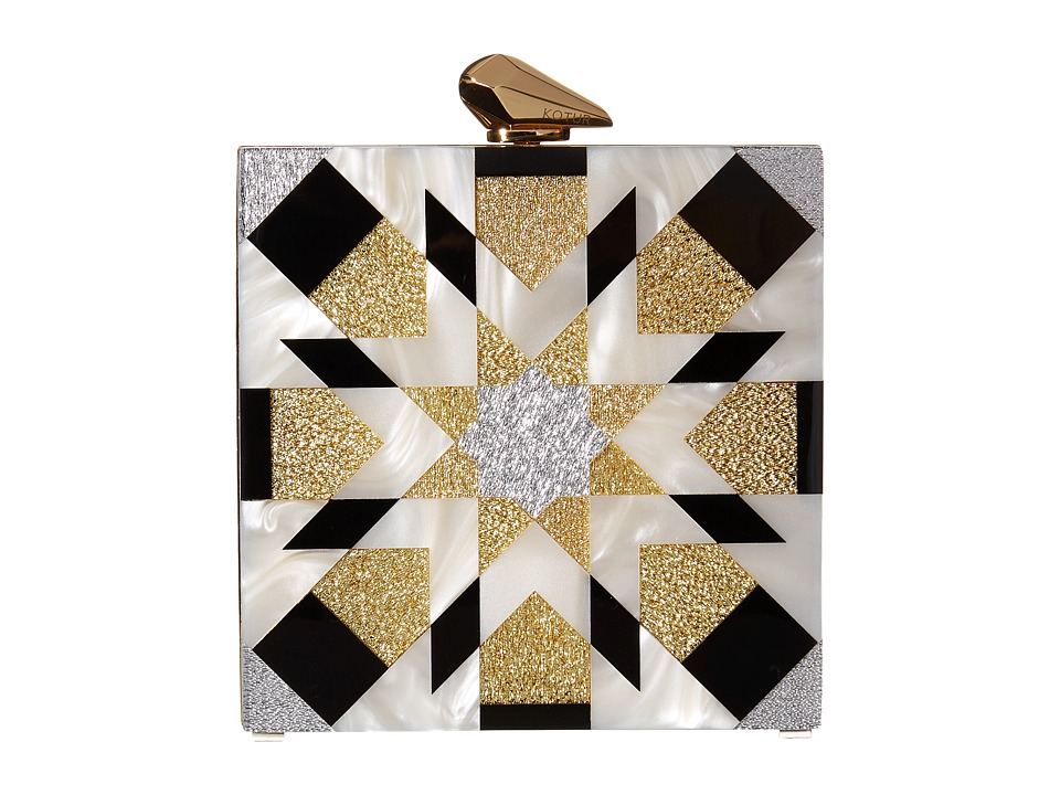 KOTUR - Fitzgerald Geometric (Black/Gold) Clutch Handbags