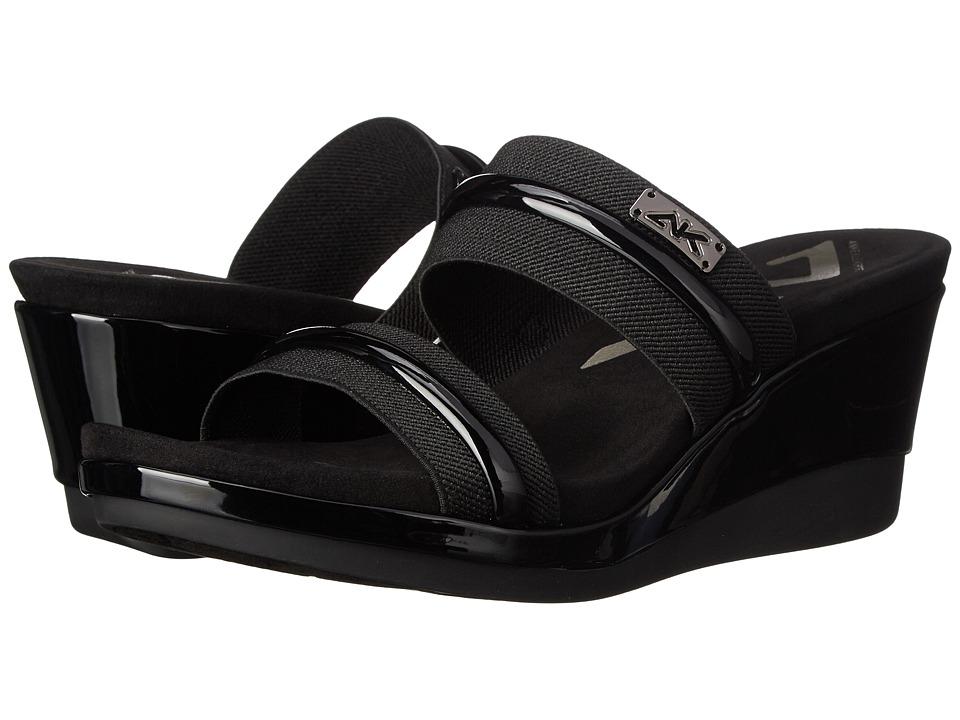 Anne Klein - Portier (Black/Black Fabric) Women's Slide Shoes