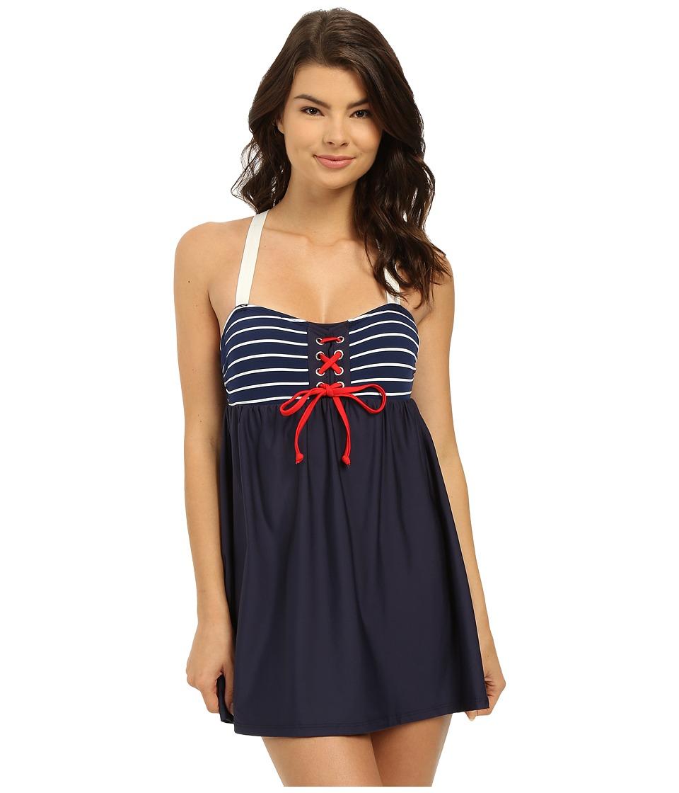Nautica - Classic Stripe Soft Cup Tie Front Swim Dress NA30546 (Navy) Women's Swimwear