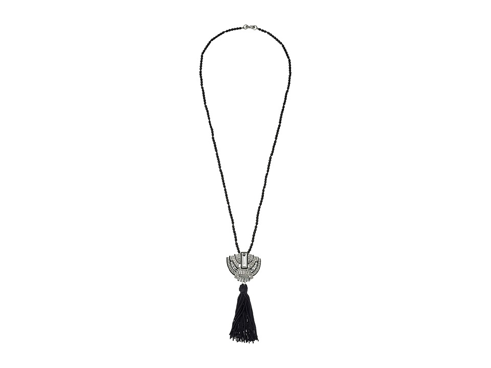 Kenneth Jay Lane - 32 Black Bead with Silver and Crystal Deco Pendant and Black Tassel Necklace (Black/Crystal) Necklace