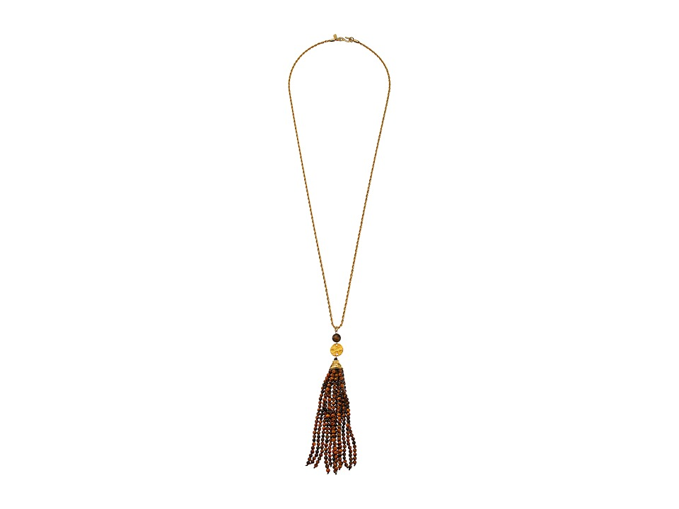 Kenneth Jay Lane - Gold Chain and Tiger Eye Tassel Necklace (Tiger Eye) Necklace