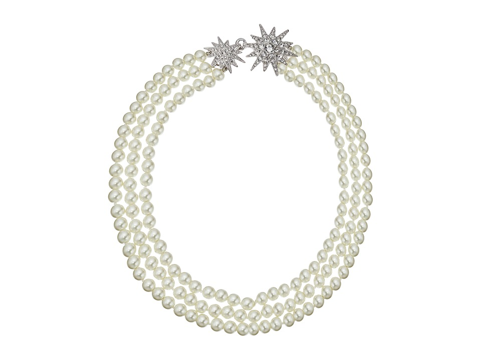 Kenneth Jay Lane - 3 Row Cultura Pearl with Rhodium and Rhinestone Starburst Clasp Necklace (Pearl) Necklace