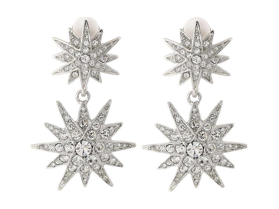 Kenneth Jay Lane - Rhodium and Rhinestone Starburst Drop Clip Earrings (Siver/Crystal) Earring