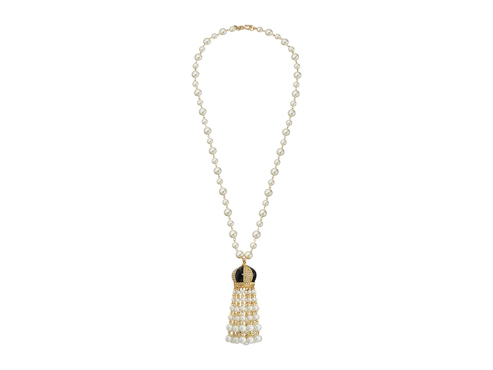 Kenneth Jay Lane - White Pearl with Black and Rhinestone Cap and Pearl Tassel Necklace (Black/Crystal) Necklace