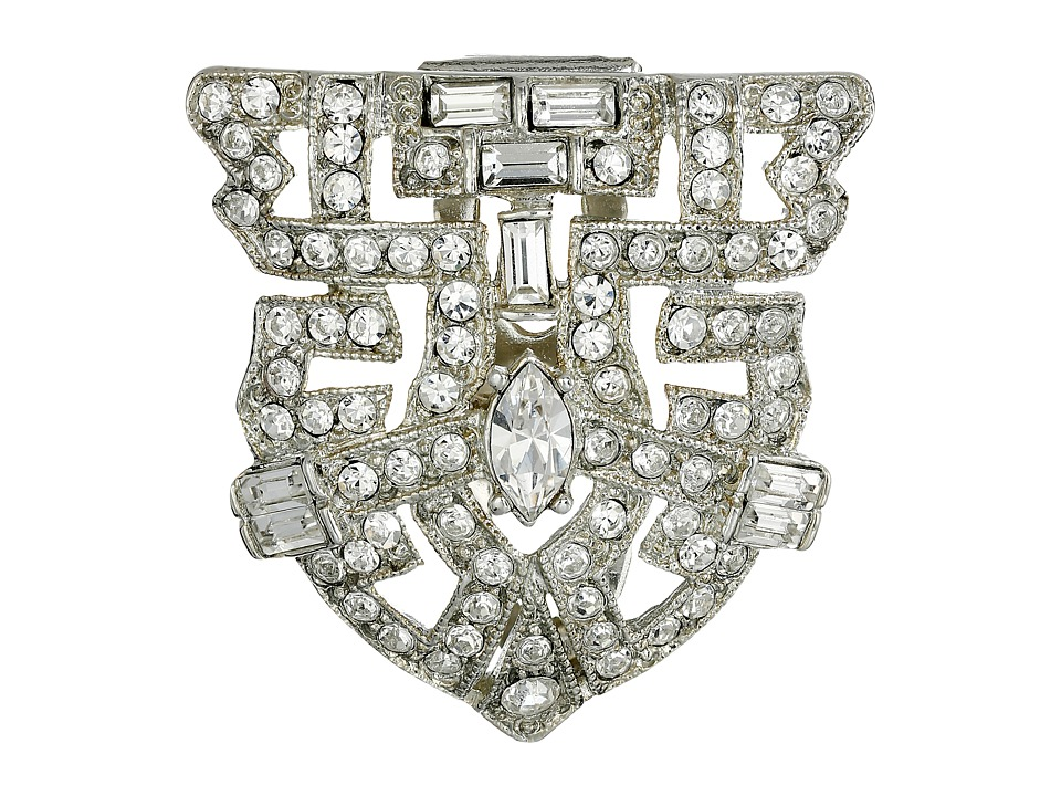 Kenneth Jay Lane - Silver and Crystal Deco Pin (Crystal) Brooches Pins
