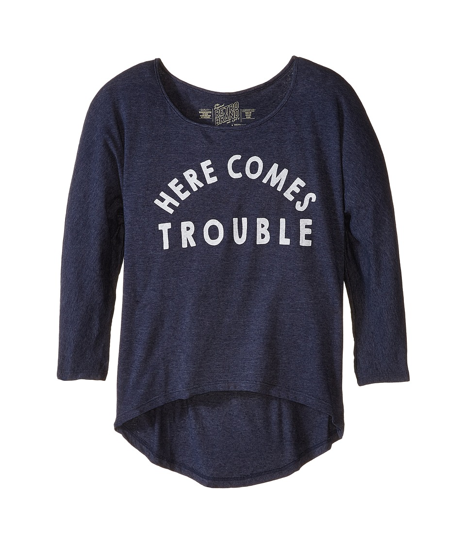 The Original Retro Brand Kids - Here Comes Trouble 3/4 High-Low Dolman (Little Kids/Big Kids) (Streaky Navy) Girl's Clothing