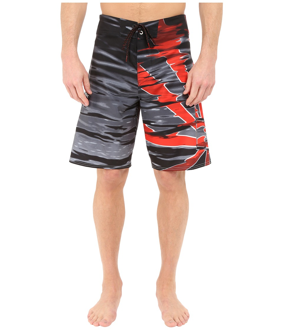Billabong - Rising Sun Ripple 21 Boardshorts (Black/Red) Men's Swimwear
