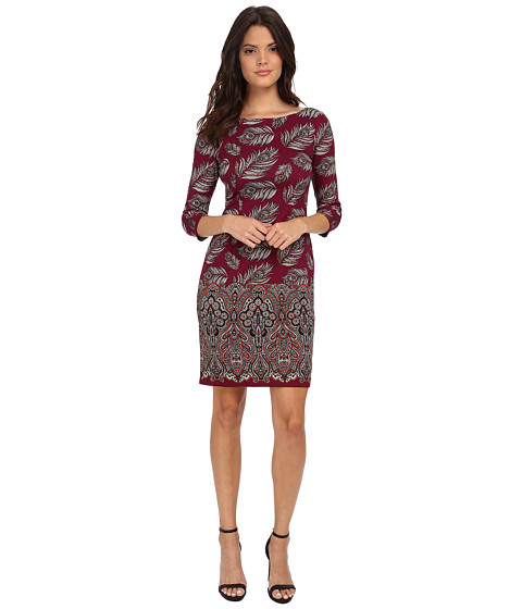 Maggy London - Feather Leaf Paisley Printed Ponte Sheath with Elbow Sleeve (Wine/Clay) Women's Dress