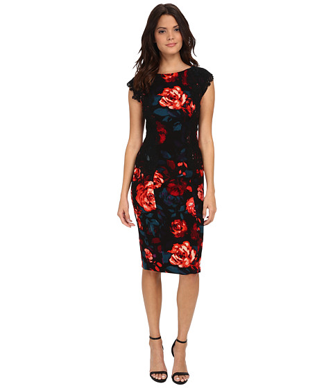 Maggy London - Printed Crepe Evening Rose Sheath with Lace Panels (Black/Fuchsia) Women