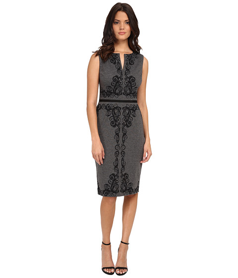Maggy London - Heather Scroll Sleeveless Ponte Sheath (Grey/Black) Women's Dress