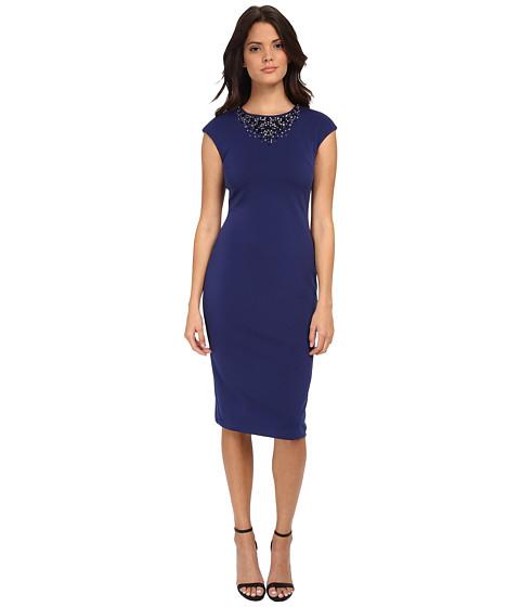Maggy London - Scuba Cap Sleeve Sheath with Neck Embellishment (Evening Blue) Women's Dress