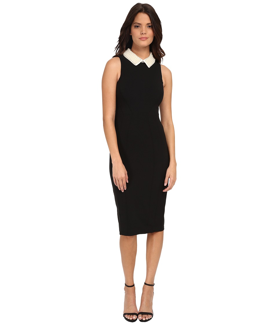 Maggy London - Crepe Sheath with Pearl Collar (Black) Women's Dress
