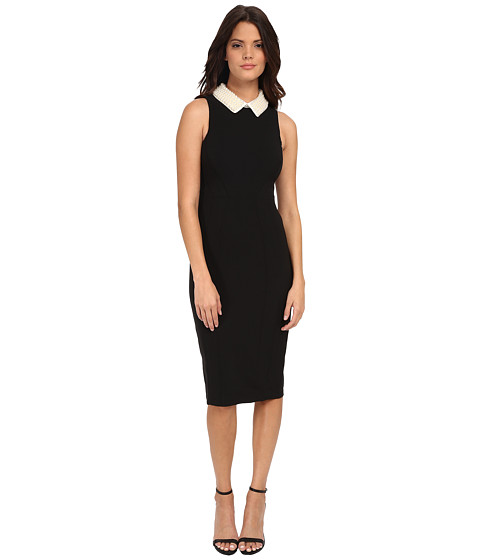 Maggy London - Crepe Sheath with Pearl Collar (Black) Women