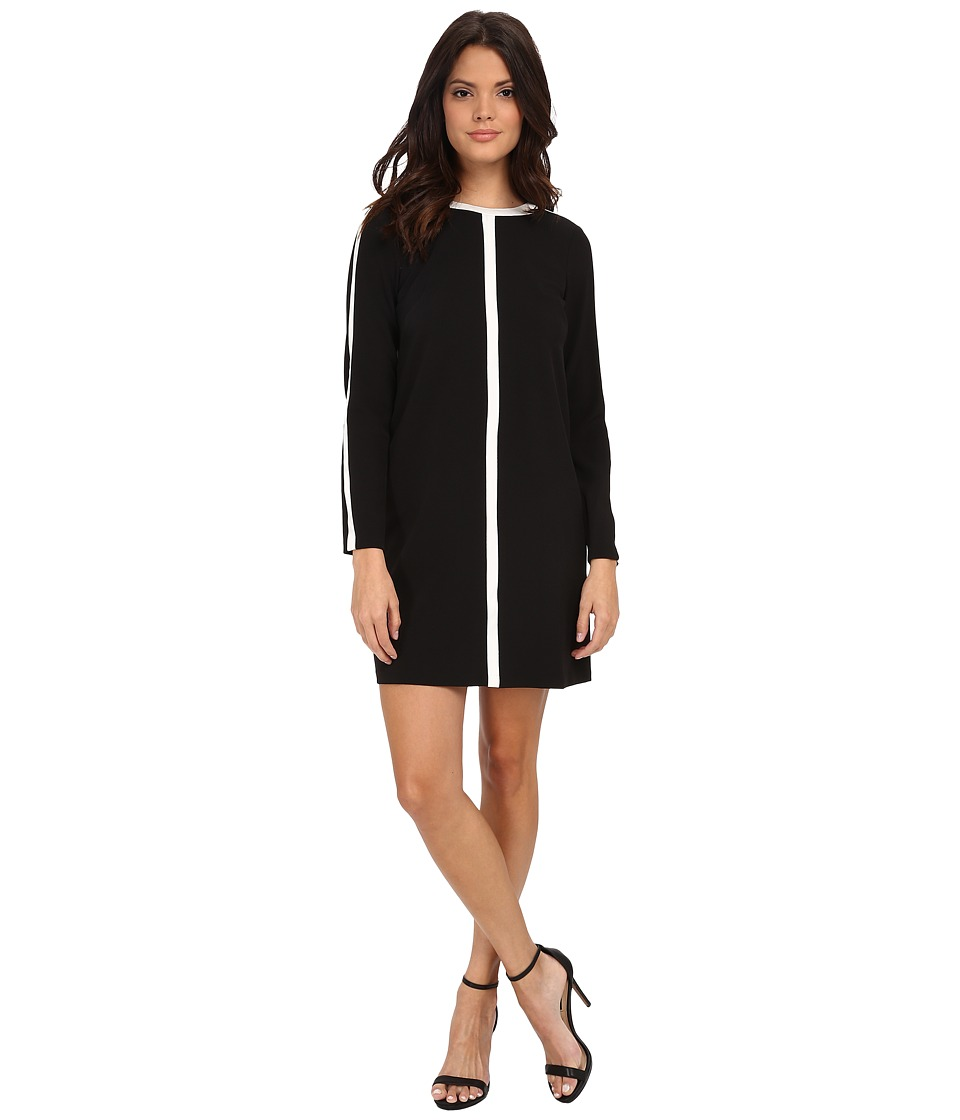Maggy London - Crepe Color Block Shift (Black/Soft White) Women's Dress