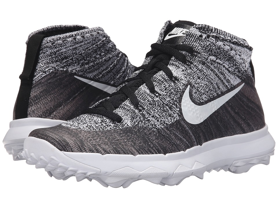 Nike Golf - FI Flyknit Chukka (Black/White) Women's Golf Shoes