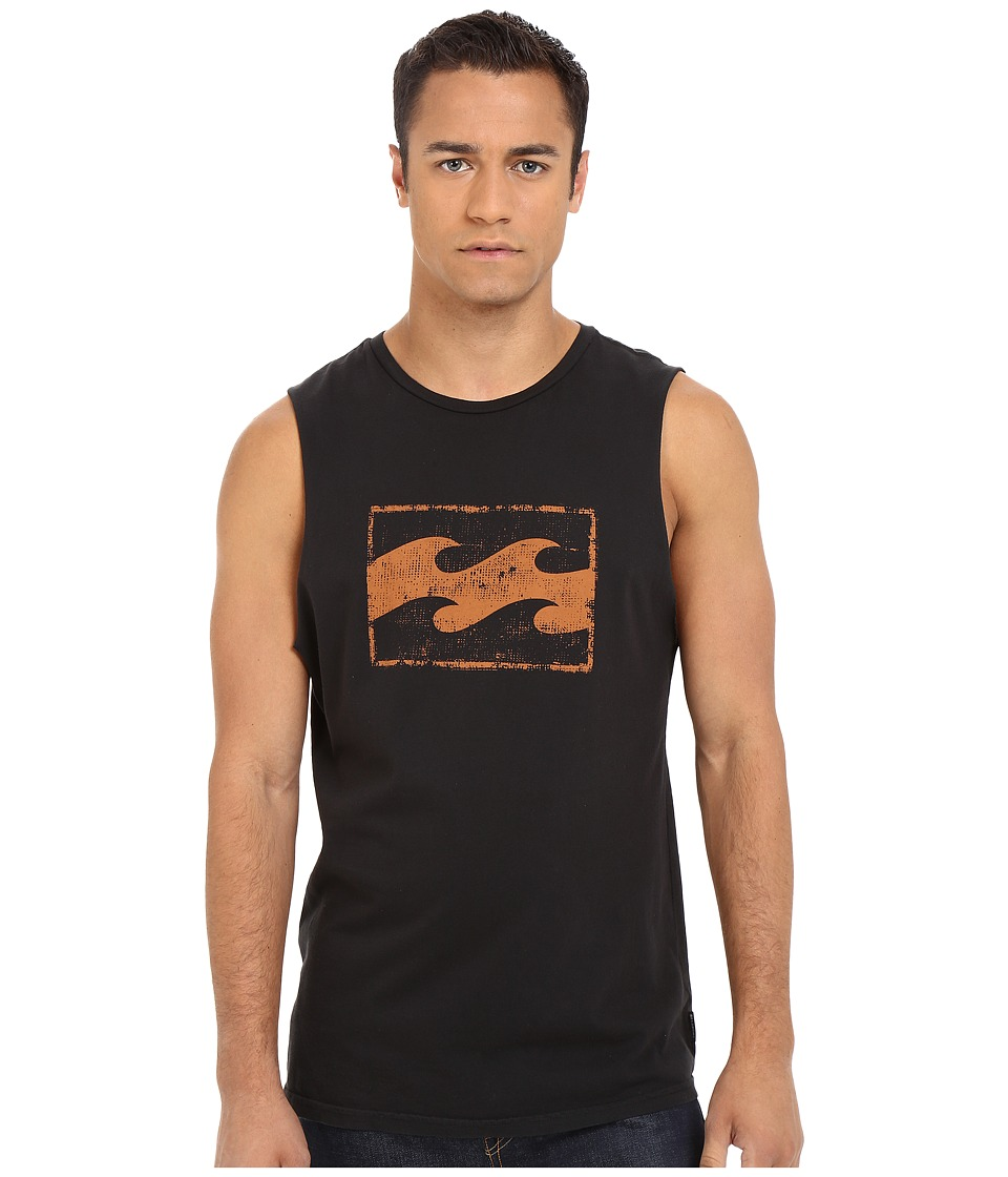 Billabong - Team Wave Distress Muscle Tank Top (Black) Men's Sleeveless