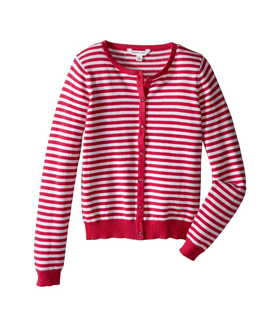 Pumpkin Patch Kids - Core Essentials Carly Rose Stripe Cardigan (Infant/Toddler/Little Kids/Big Kids) (Fuchsia Rose) Girl's Sweater
