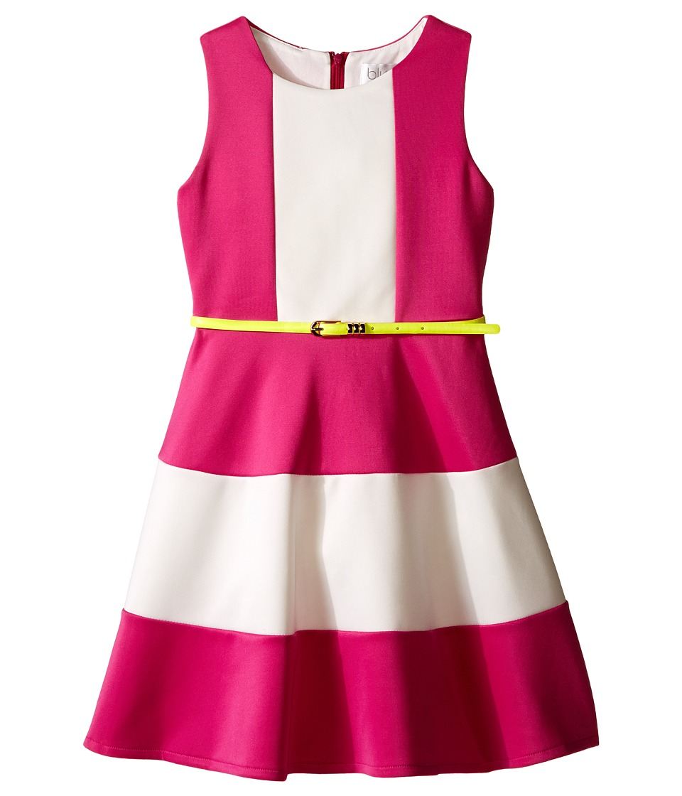 Us Angels - Scuba Tank Dress w/ Color Block Full Skirt (Big Kids) (Fuchsia) Girl's Dress