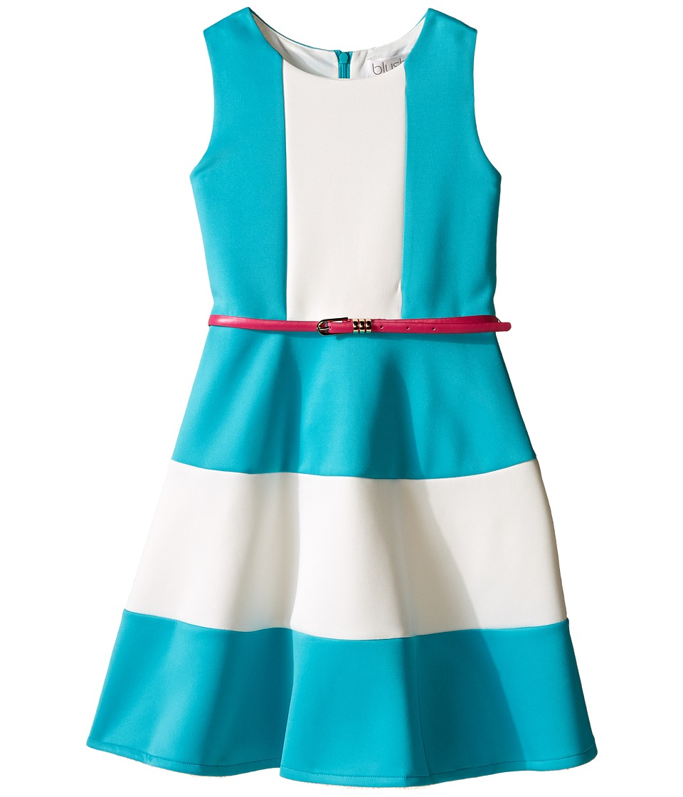 Us Angels - Scuba Tank Dress w/ Color Block Full Skirt (Big Kids) (Turquoise) Girl's Dress