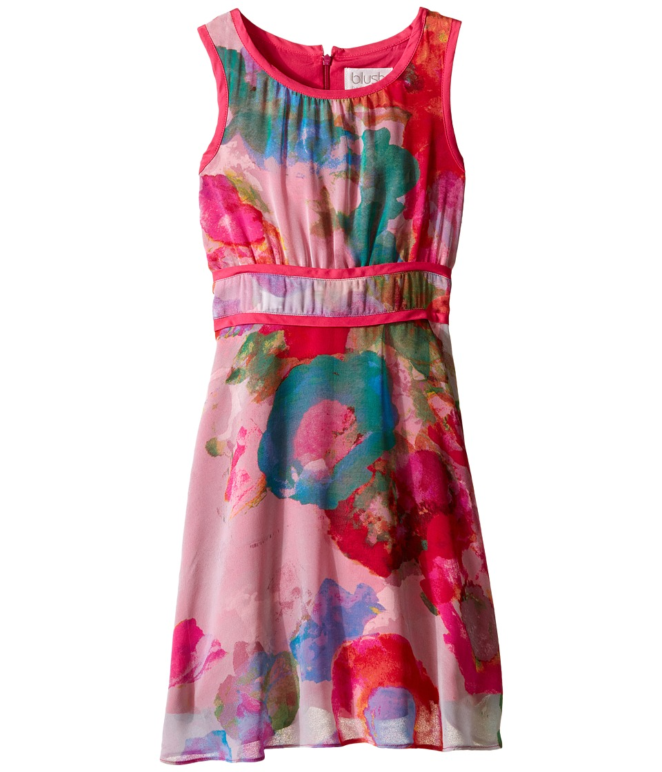 Us Angels - Floral Chiffon Sleeveless Dress w/ Double Stripe Waist Full Skirt (Big Kids) (Multi) Girl's Dress