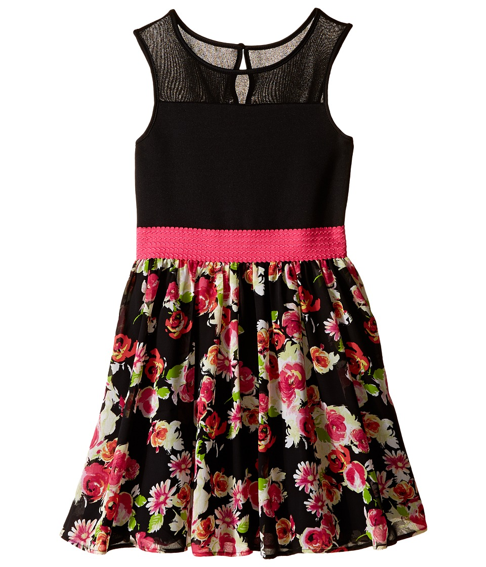 Us Angels - Sleeveless Illusion w/ Chiffon Full Skirt (Big Kids) (Black) Girl's Dress