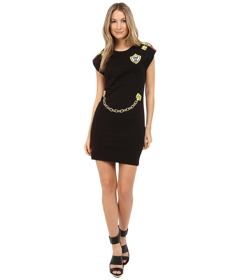 LOVE Moschino - Dress with Gold Chain/Lock Graphics (Black) Women's Dress