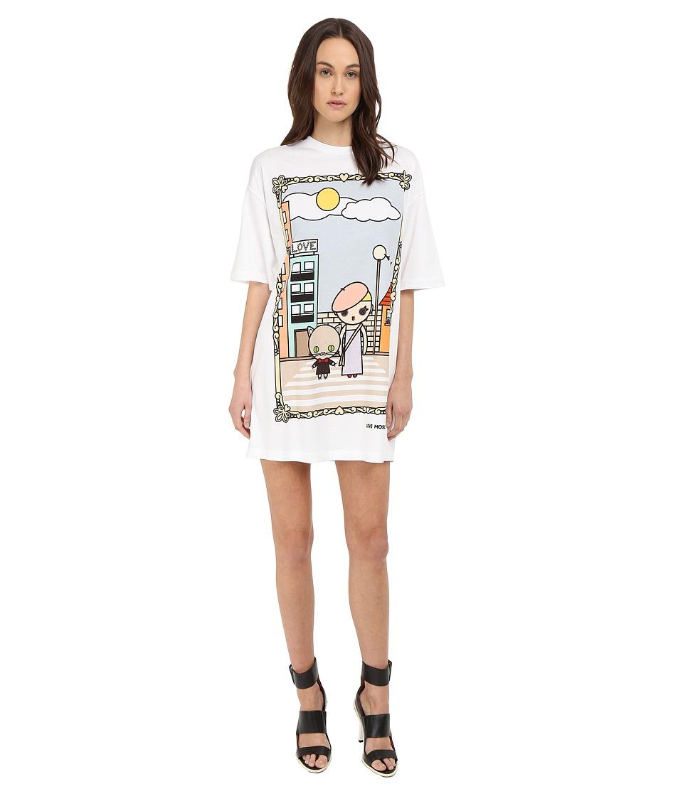 LOVE Moschino - T-Shirt Dress with Girl Graphic (White) Women's Dress