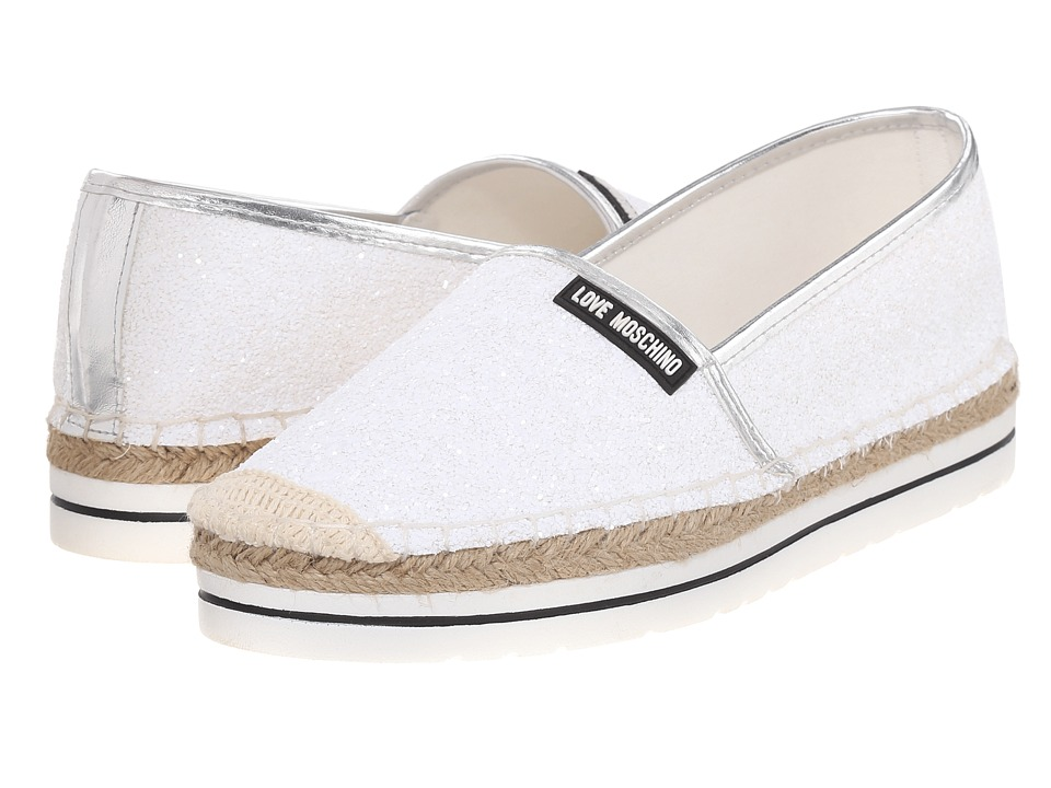LOVE Moschino - Sparkle Slip-On (White) Women's Slip on Shoes