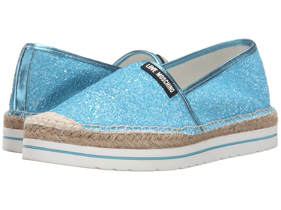 LOVE Moschino - Sparkle Slip-On (Blue) Women's Slip on Shoes
