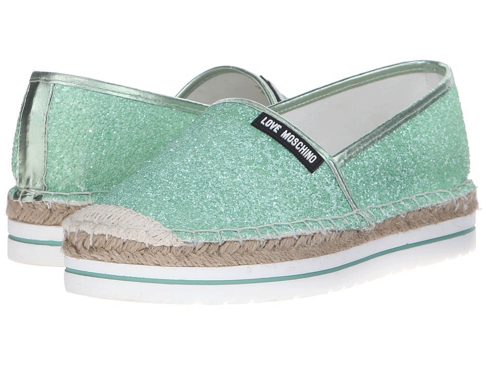 LOVE Moschino - Sparkle Slip-On (Mint) Women's Slip on Shoes