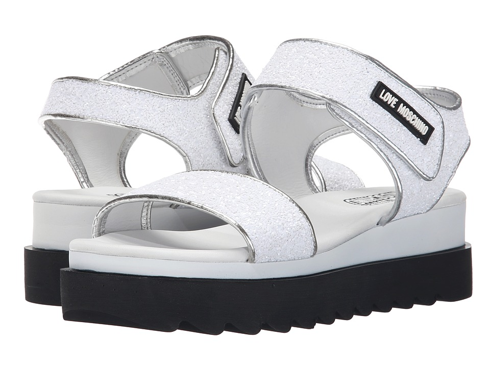 LOVE Moschino - Shiny Open Toe (White) Women's Toe Open Shoes