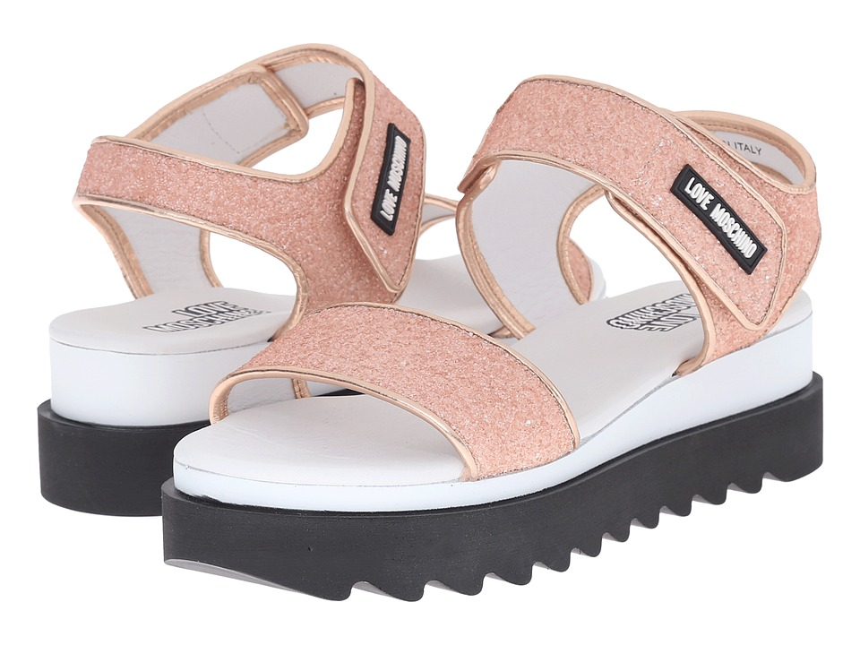 LOVE Moschino - Shiny Open Toe (Pink) Women's Toe Open Shoes