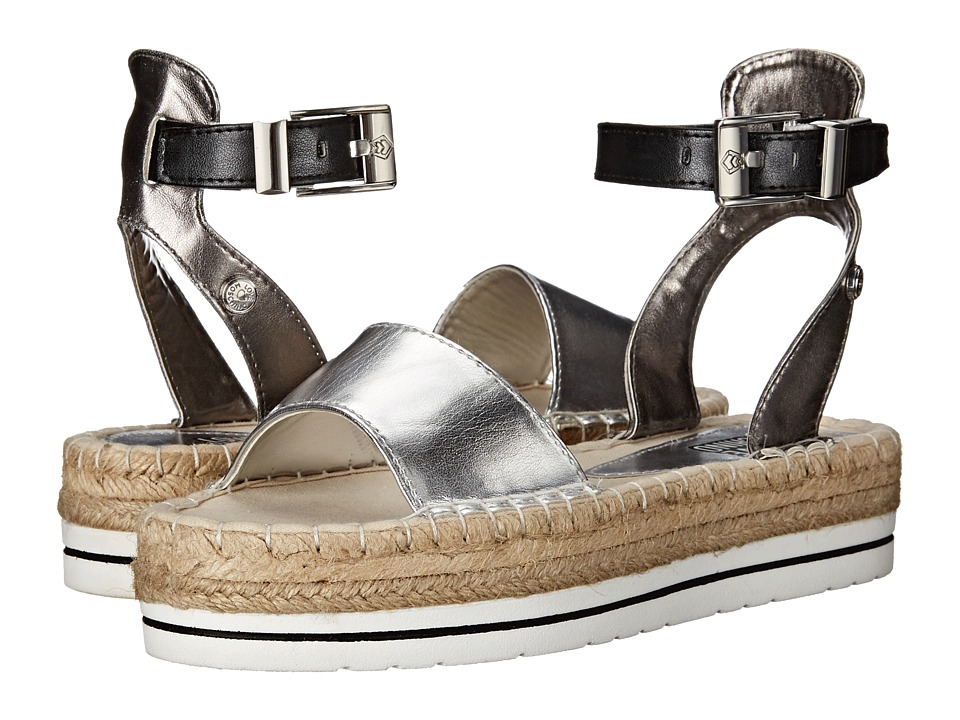 LOVE Moschino - Shiny Espadrille Sandal (Black/Silver) Women's Sandals