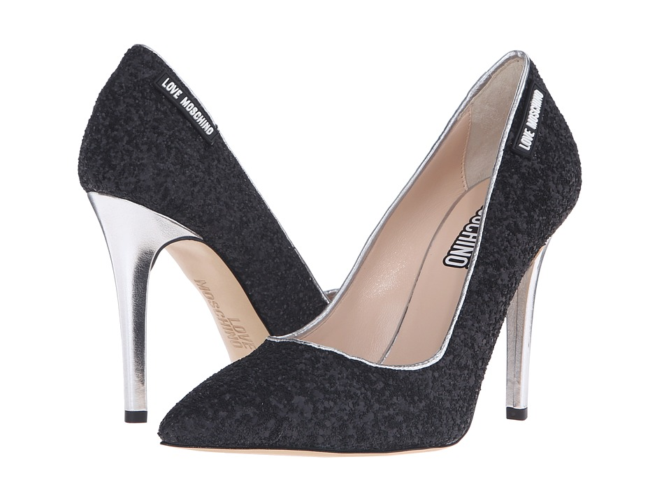LOVE Moschino Sparkle Heel (Black) Women