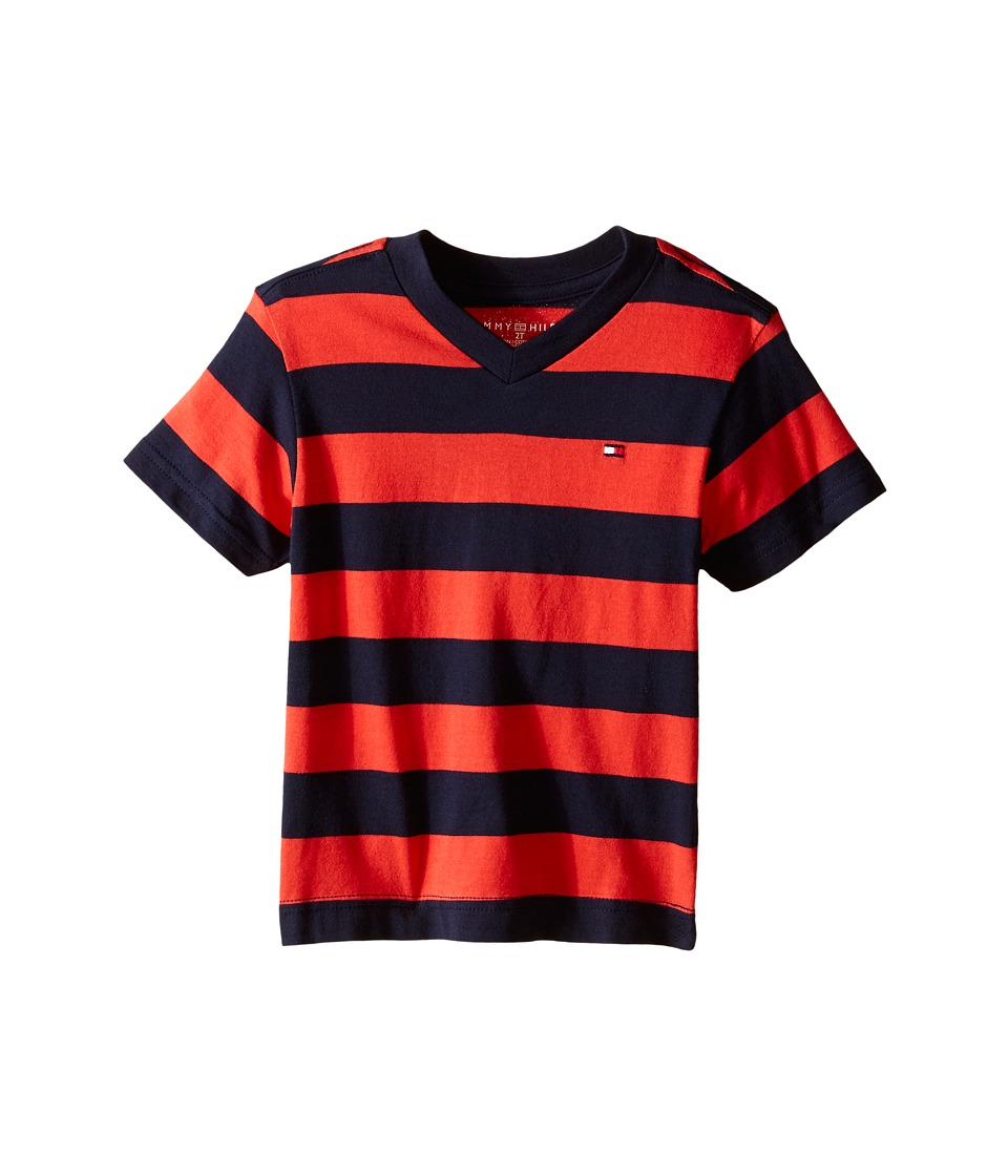 Tommy Hilfiger Kids - Famous Stripe Tee (Toddler) (Holly Red) Boy's Clothing