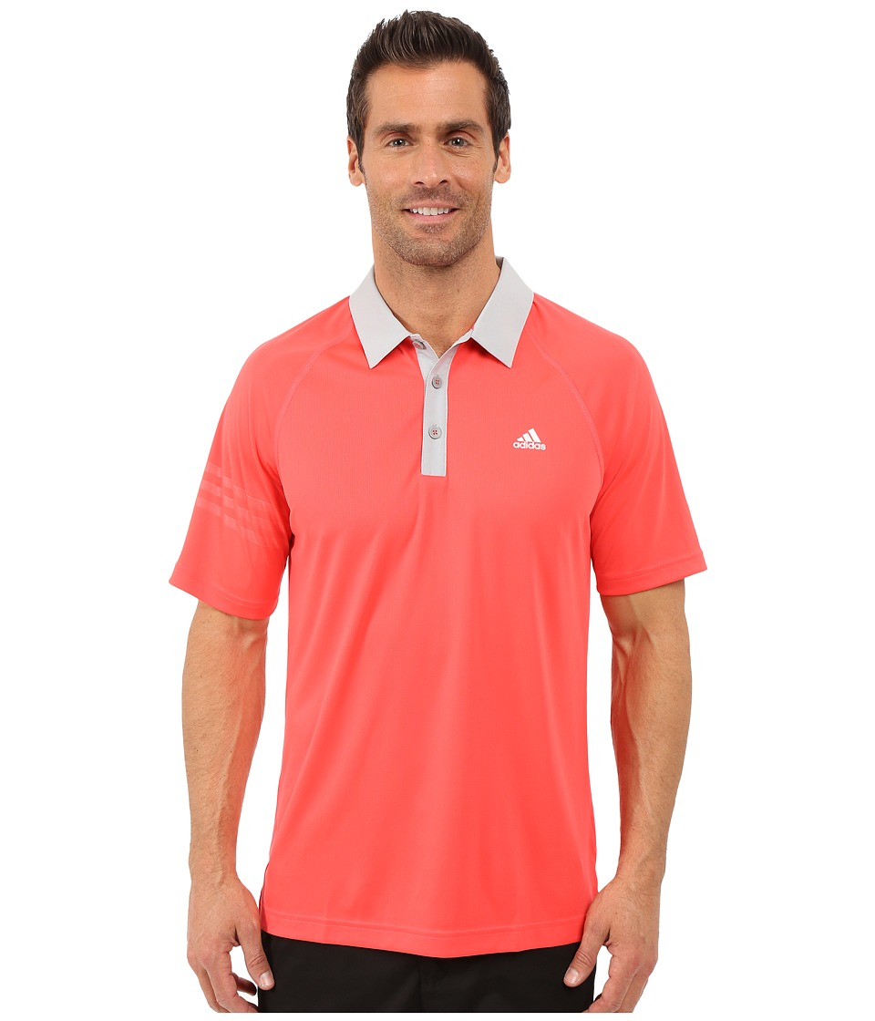 adidas Golf - CLIMACHILL 3-Stripes Polo (Shock Red/Stone) Men's Clothing