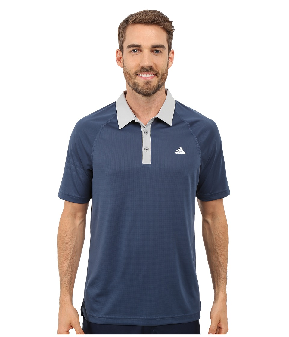 adidas Golf - CLIMACHILL 3-Stripes Polo (Mineral Blue/Stone) Men's Clothing