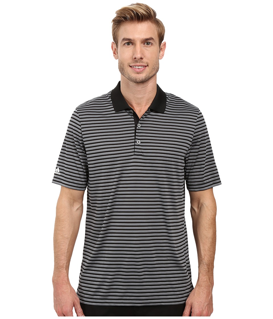 adidas Golf - Performance 3-Color Stripe Polo (Black/Vista Grey/White) Men's Clothing
