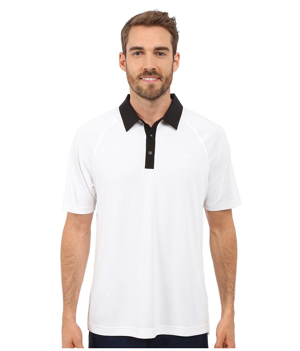 adidas Golf - CLIMACHILL 3-Stripes Polo (White/Black) Men's Clothing