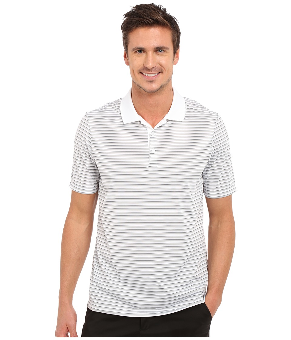 adidas Golf - Performance 3-Color Stripe Polo (White/Stone/Mineral Blue) Men's Clothing