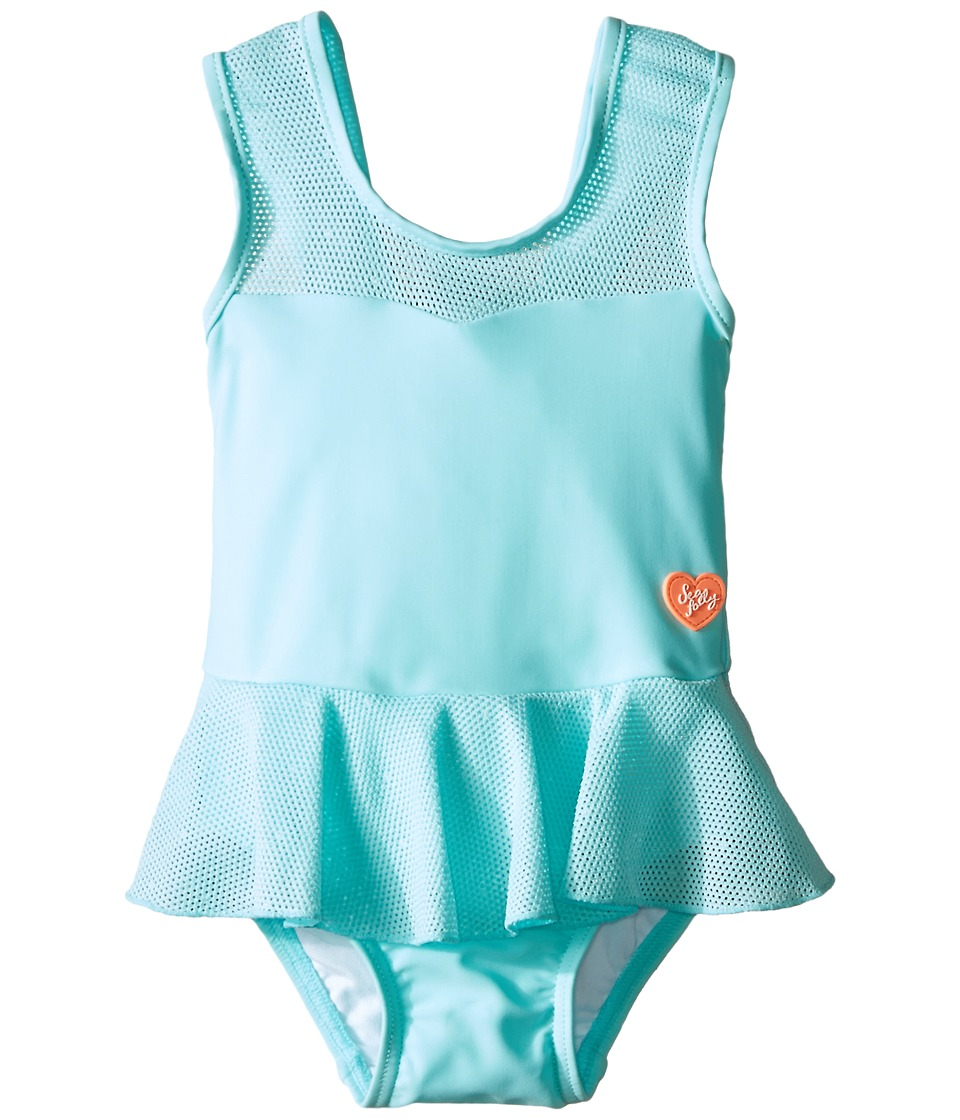 Seafolly Kids - Peek A Boo Peplum Tank Top (Infant/Toddler/Little Kids) (Crystal Blue) Girl's Swimwear